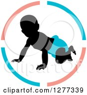 Clipart Of A Black Silhouetted Baby Crawling In A Blue Diaper Inside A Circle Royalty Free Vector Illustration