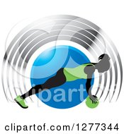 Clipart Of A Black Silhouetted Woman Exercising With A Ball Over A Blue Circle And Silver Arches Royalty Free Vector Illustration by Lal Perera