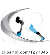 Clipart Of A Black Silhouetted Woman Exercising With A Ball On A Silver Swoosh Royalty Free Vector Illustration