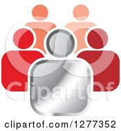 Clipart Of A Silver Leader And Red Followers Icon Royalty Free Vector Illustration