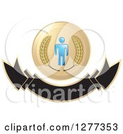 Clipart Of A Wheat Stalks And A Blue Man Over A Blank Banner Royalty Free Vector Illustration by Lal Perera