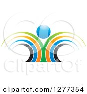 Clipart Of A Colorful Abstract Person With A Blue Head Royalty Free Vector Illustration by Lal Perera