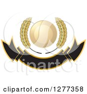 Clipart Of A Wheat Stalks And A Gold Circle Over A Blank Banner Royalty Free Vector Illustration by Lal Perera