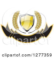 Clipart Of A Wheat Stalks And A Gold Shield Over A Blank Banner Royalty Free Vector Illustration by Lal Perera
