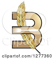 Clipart Of A Wheat Stalk Weaved Through A Letter B With A Fork Royalty Free Vector Illustration by Lal Perera