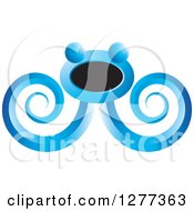 Clipart Of A Blue And Black Abstract Octopus Design Royalty Free Vector Illustration by Lal Perera