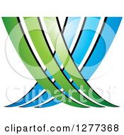 Clipart Of A Blue And Green Abstract Ecology Logo 3 Royalty Free Vector Illustration