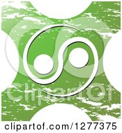 Clipart Of A White Yin Yang Over A Grungy Green X Royalty Free Vector Illustration