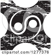 Clipart Of A White Yin Yang Over A Grungy X Royalty Free Vector Illustration by Lal Perera