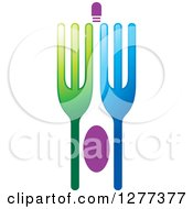 Clipart Of A Green Blue And Purple Fork Design Royalty Free Vector Illustration