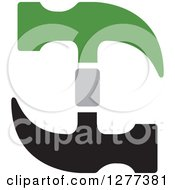 Clipart Of A Green And Black Hammer Design Royalty Free Vector Illustration by Lal Perera