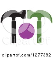 Clipart Of A Green Purple And Black Hammer Design Royalty Free Vector Illustration by Lal Perera