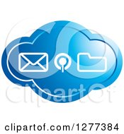 Clipart Of A Blue Cloud Icon With Communications Designs Royalty Free Vector Illustration by Lal Perera