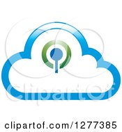 Clipart Of A Blue Cloud And Signal Design Royalty Free Vector Illustration