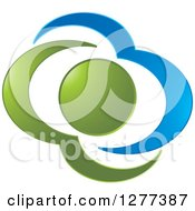 Clipart Of A Blue And Green Abstract Sun And Cloud Design Royalty Free Vector Illustration