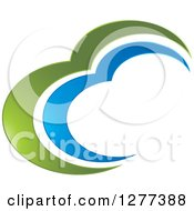 Clipart Of A Blue And Green Abstract Design Royalty Free Vector Illustration