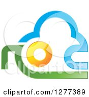 Clipart Of A Blue Green And Orange Abstract Cloud Sun And Land Design Royalty Free Vector Illustration by Lal Perera