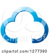 Clipart Of A Blue Cloud Outline Royalty Free Vector Illustration