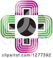 Clipart Of A Green Purple Black And White Cross Royalty Free Vector Illustration