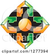 Clipart Of A Cross Of A Circle And Orange And Green Arrows On Black Royalty Free Vector Illustration
