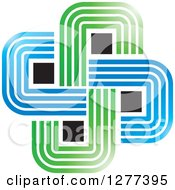 Clipart Of A Blue Green Black And White Entwined Design Royalty Free Vector Illustration by Lal Perera