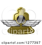 Clipart Of A Gold Bell With Silver Wings Royalty Free Vector Illustration by Lal Perera
