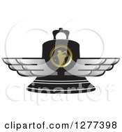Clipart Of A Black Golfer Bell With Silver Wings Royalty Free Vector Illustration by Lal Perera