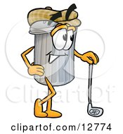 Clipart Picture Of A Garbage Can Mascot Cartoon Character Leaning On A Golf Club While Golfing