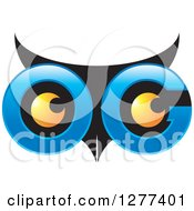 Clipart Of A Blue And Black Owl Face With Yellow Eyes Royalty Free Vector Illustration