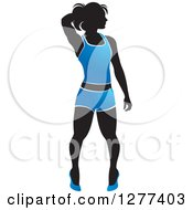 Clipart Of A Black Silhouetted Woman Posing And Wearing A Blue Outfit Royalty Free Vector Illustration by Lal Perera