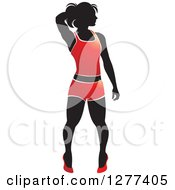 Clipart Of A Black Silhouetted Woman Posing And Wearing A Red Outfit Royalty Free Vector Illustration by Lal Perera