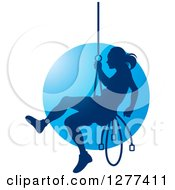 Clipart Of A Silhouetted Woman Rappelling Over Blue Royalty Free Vector Illustration by Lal Perera