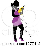 Clipart Of A Black Silhouetted Woman In A Purple Dress Holding A Power Drill Royalty Free Vector Illustration by Lal Perera