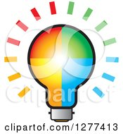 Clipart Of A Colorful Shining Light Bulb Royalty Free Vector Illustration