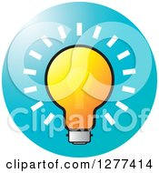 Clipart Of A Shining Light Bulb On A Blue Icon Royalty Free Vector Illustration