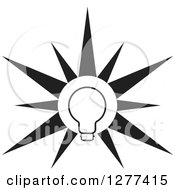 Clipart Of A Black And White Light Bulb Burst Royalty Free Vector Illustration