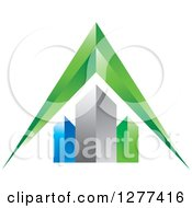 Clipart Of A 3d Green Arrow Over Skyscrapers Royalty Free Vector Illustration by Lal Perera
