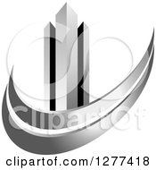 Clipart Of A Black And Silver City Skyscraper And Swoosh Royalty Free Vector Illustration