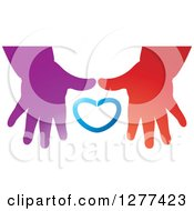 Clipart Of Red And Purple Childrens Hands And A Blue Heart Royalty Free Vector Illustration