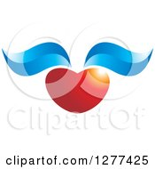 Clipart Of A Shiny Red Heart With Blue Wings Royalty Free Vector Illustration by Lal Perera