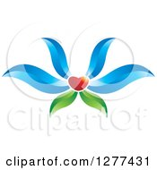 Clipart Of A Red Heart Flower With Blue Petals And Green Leaves Royalty Free Vector Illustration