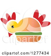 Clipart Of A Red Yellow And Green Chicken Burger 2 Royalty Free Vector Illustration by Lal Perera