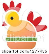 Clipart Of A Red Yellow And Green Chicken Burger Royalty Free Vector Illustration by Lal Perera
