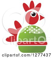 Clipart Of A Green And Red Chicken Burger Royalty Free Vector Illustration by Lal Perera