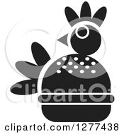 Clipart Of A Black And White Chicken Burger Royalty Free Vector Illustration by Lal Perera