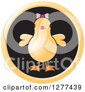 Clipart Of A Chick Wearing A Bow In A Round Black Icon Royalty Free Vector Illustration by Lal Perera