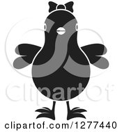 Clipart Of A Black And White Chick Wearing A Bow Royalty Free Vector Illustration by Lal Perera
