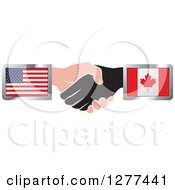 Clipart Of Black And Caucasian Hands Shaking With American And Canadian Flags Royalty Free Vector Illustration