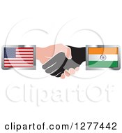 Clipart Of Black And Caucasian Hands Shaking With American And Indian Flags Royalty Free Vector Illustration