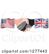 Clipart Of Black And Caucasian Hands Shaking With American And British Flags Royalty Free Vector Illustration